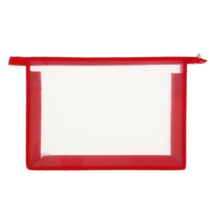 Папка пластиковая А4, молния сверху, Офис Б/ЦВ, красная