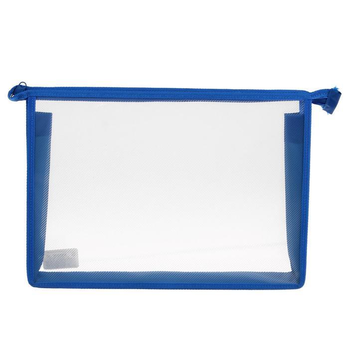 Папка пластик А4 молния сверху Офис Б/ЦВ Синяя