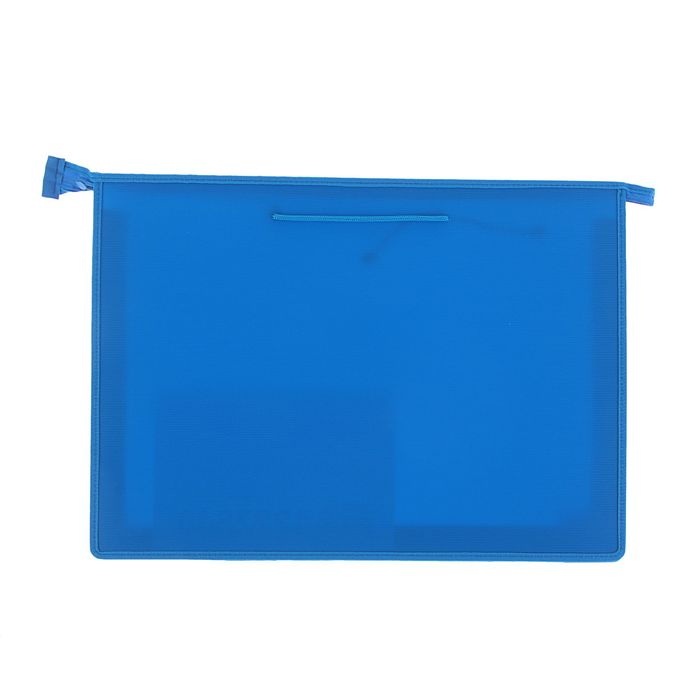Папка А3 с ручками пластиковая молния сверху 470х335х50 мм, синяя