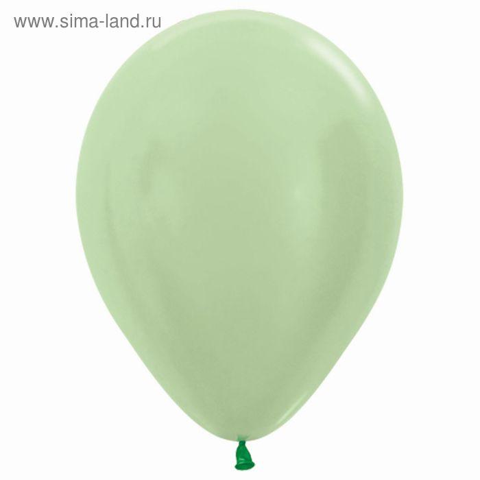 """Шар латексный 12"""", перламутр, набор 100 шт., цвет светло-зелёный"""