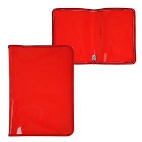 Папка пластиковая А4, молния вокруг, «Офис», цветная, текстура поверхности «песок», ПМ-А4-11, красная