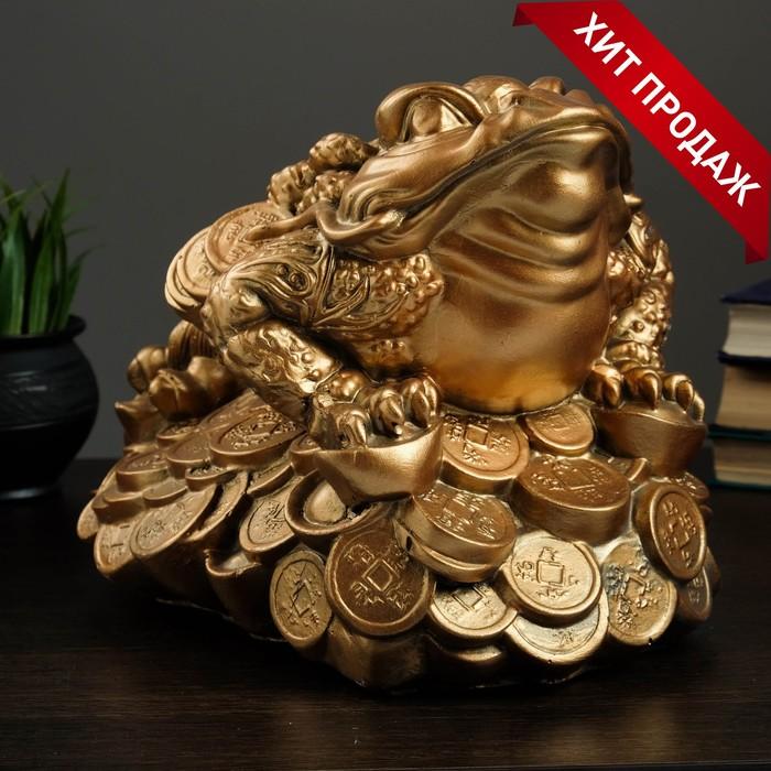 "Копилка ""Лягушка на монетах"" большая 25х35см"