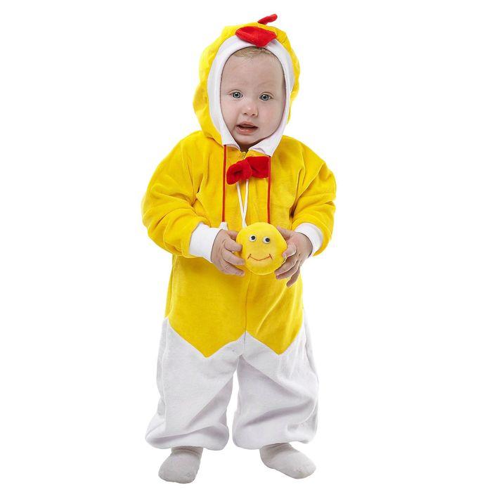 """Карнавальный комбинезон для самых маленьких """"Цыплёнок"""", велюр, рост 68-92 см, с игрушкой, виды МИКС"""