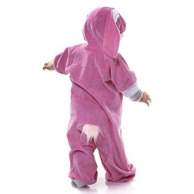 """Carnival jumpsuit for the little """"Bunny pink"""", velour, height 68-92 cm"""