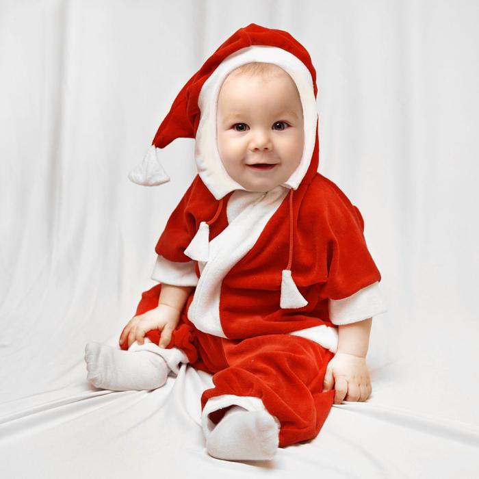 """Карнавальный комбинезон для самых маленьких """"Дед Мороз"""", велюр, рост 68-92 см, цвет красный, оттенки МИКС"""