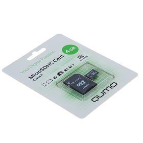 Qumo microSD memory card, 4 GB, SDHC, class 4, with SD adapter.