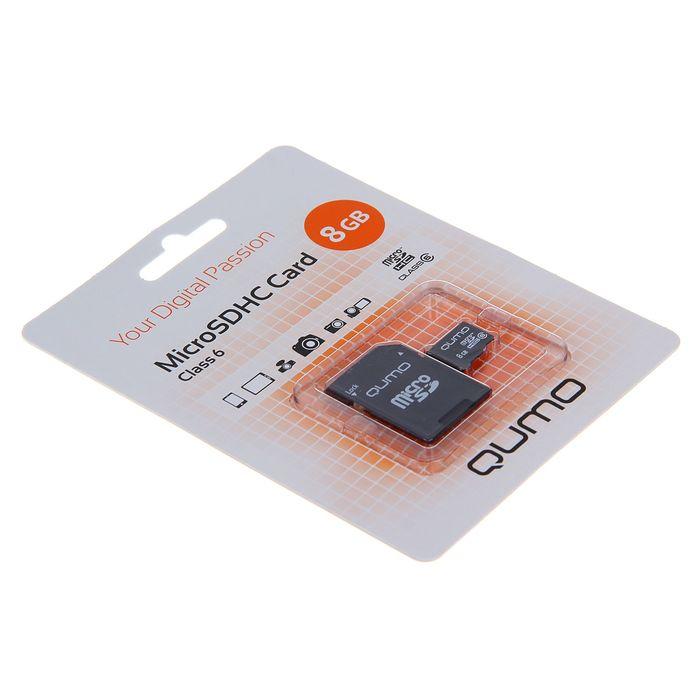 Карта памяти MicroSDHC Qumo, 8 GB, Сlass 6, с адаптером SD