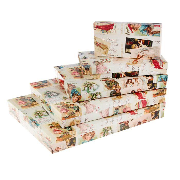 """Набор коробок 5в1 """"Рождественские открытки"""", 40 х 30 х 5 - 20 х 10 х 3 см"""