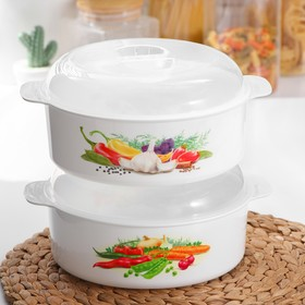 Pan for a microwave oven 2.1 L, color MIX.