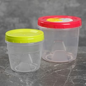Набор контейнеров круглых с закручивающимися крышками, 2 шт: 500 мл, 1 л, цвет МИКС