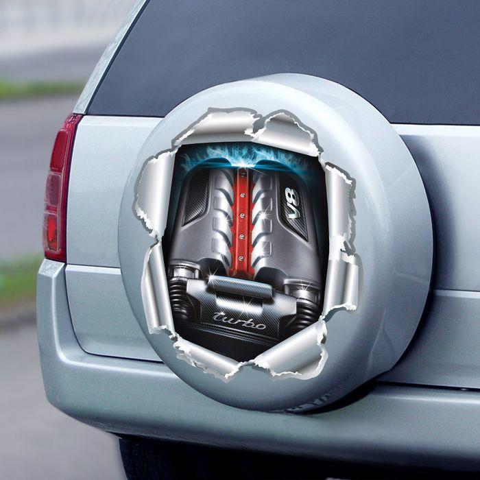 """Наклейка на капот и короб для запаски автомобиля """"Двигатель"""""""