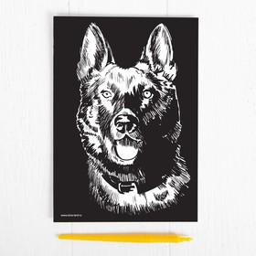 "Engraved gold effect ""Dog"", A5 + chisel"