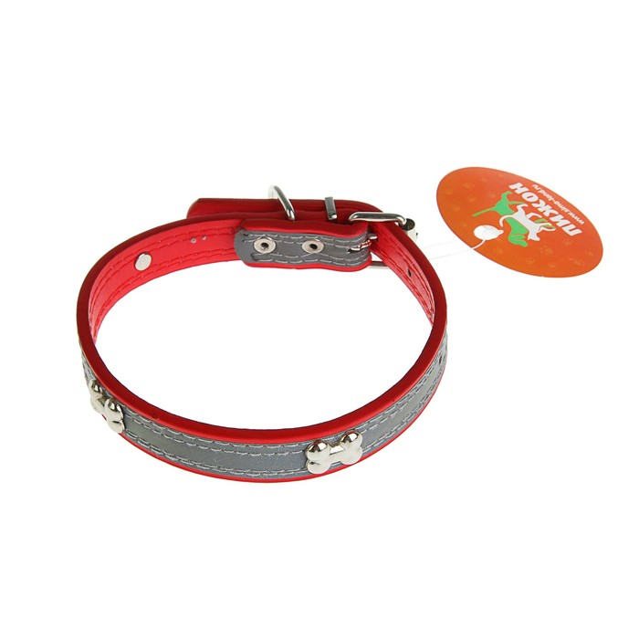 Dog collar with reflective strip and bones, 45 x 2 cm, red