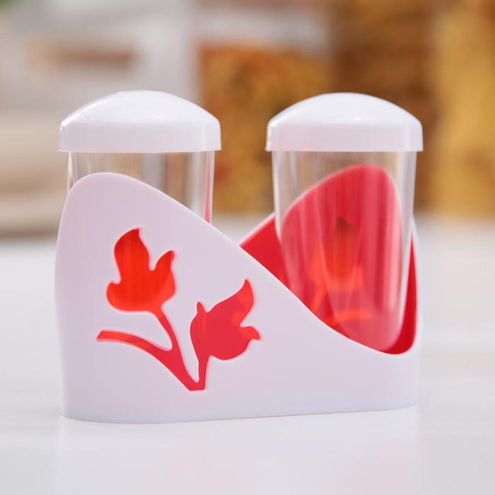 Viola Spice Set, 3 items: salt shaker, pepper shaker, stand, red