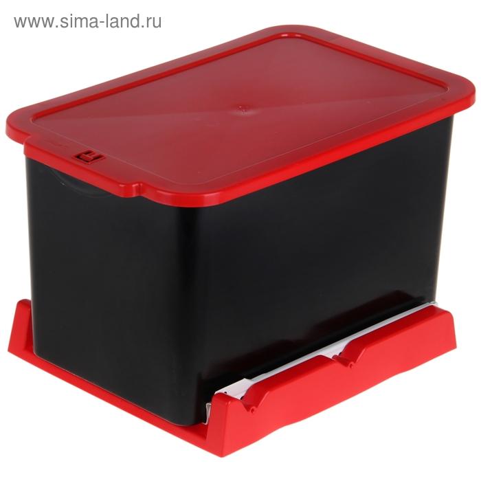 Ведро для мусора 15 л, выдвижное, цвет черно-красный