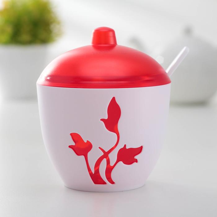 Сахарница Viola, цвет красный полупрозрачный