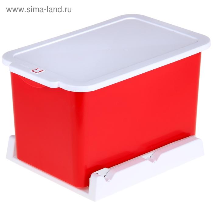 Ведро для мусора 15 л, выдвижное, цвет красно-белый