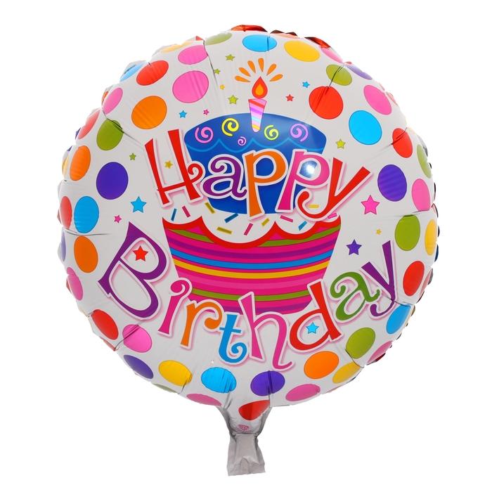 "Balloon foil 18"" ""happy birthday"", cake and balloons, circle"