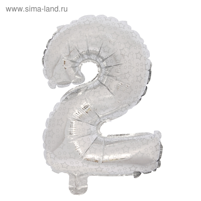 """Шар фольгированный 18"""" Цифра 2, серебро"""
