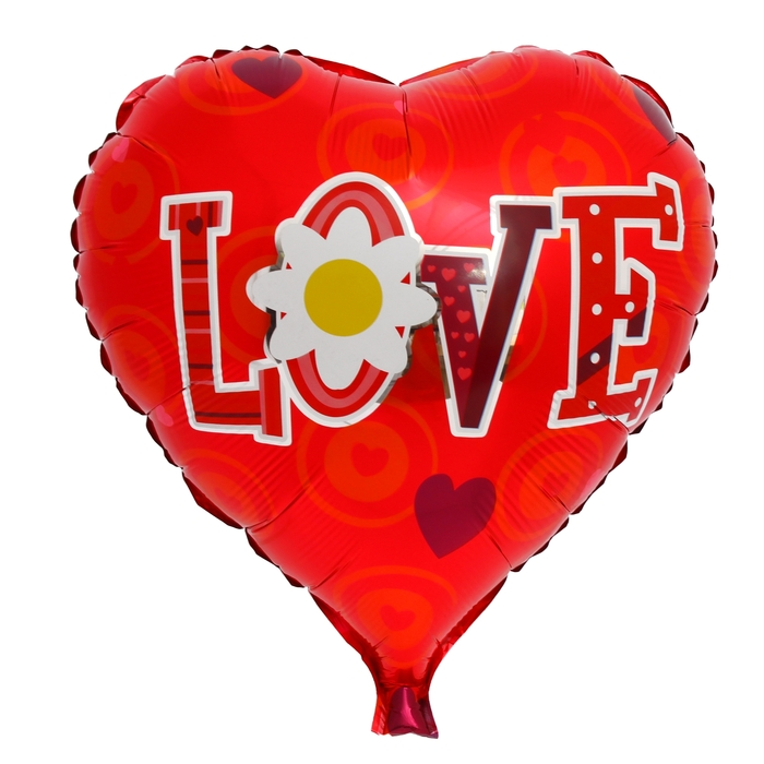 "Foil balloon ""Love"" Heart 18"" Daisies MIX color"