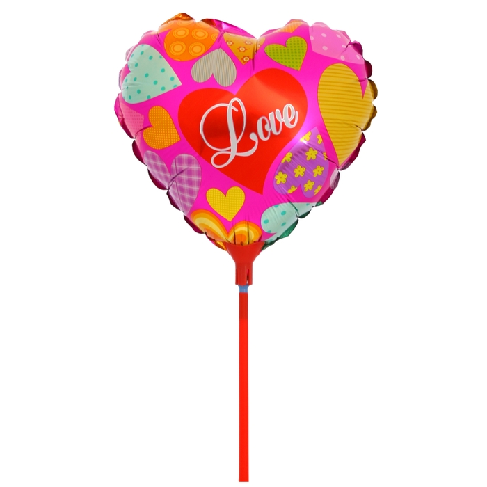 """Balloon foil 10"""" """"Love"""" with a stick, striking the heart"""