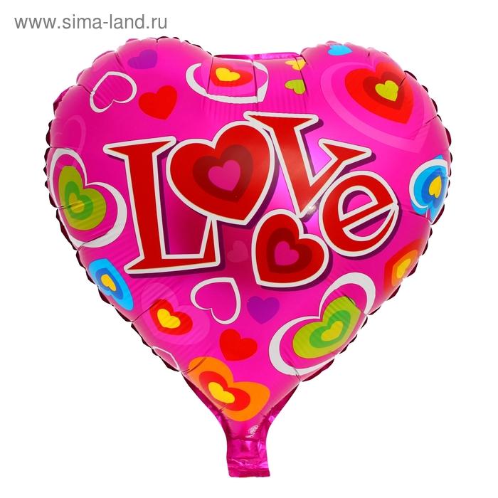 """Шар фольгированный """"Любовь"""" Сердце 18"""" с сердцами"""