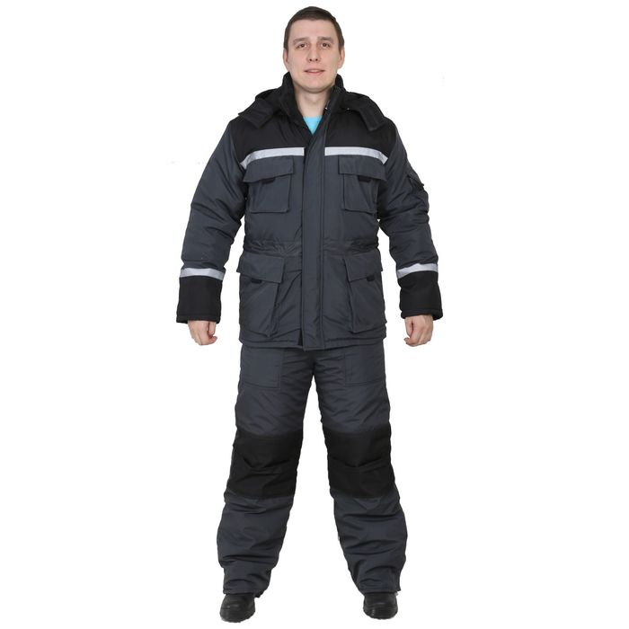 "Костюм ""Форвард"", размер 44-46, рост 170-176 см, цвет серый/чёрный"