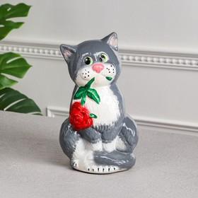"""Копилка """"Кот с розой"""", покрытие лак, серая, 28 см, микс"""