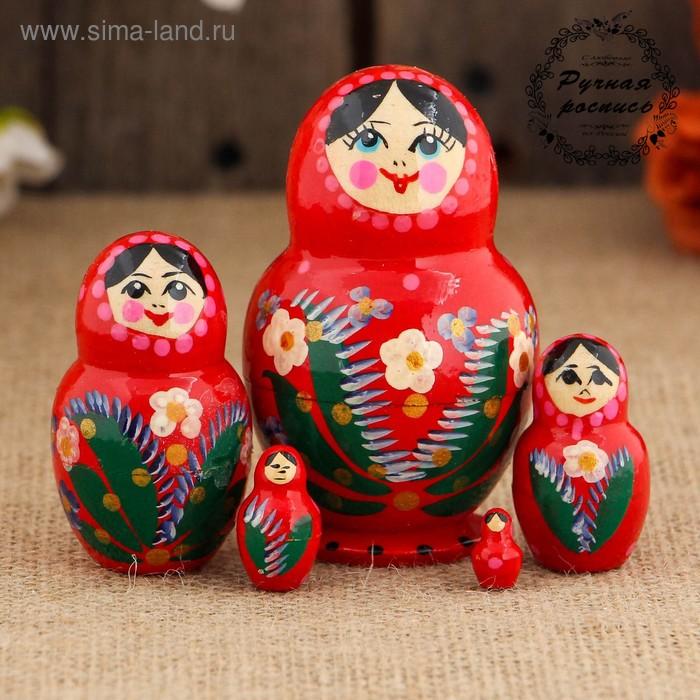 Матрёшка «Цветочки», красный платок, круглая, 5 кукольная, 8 см