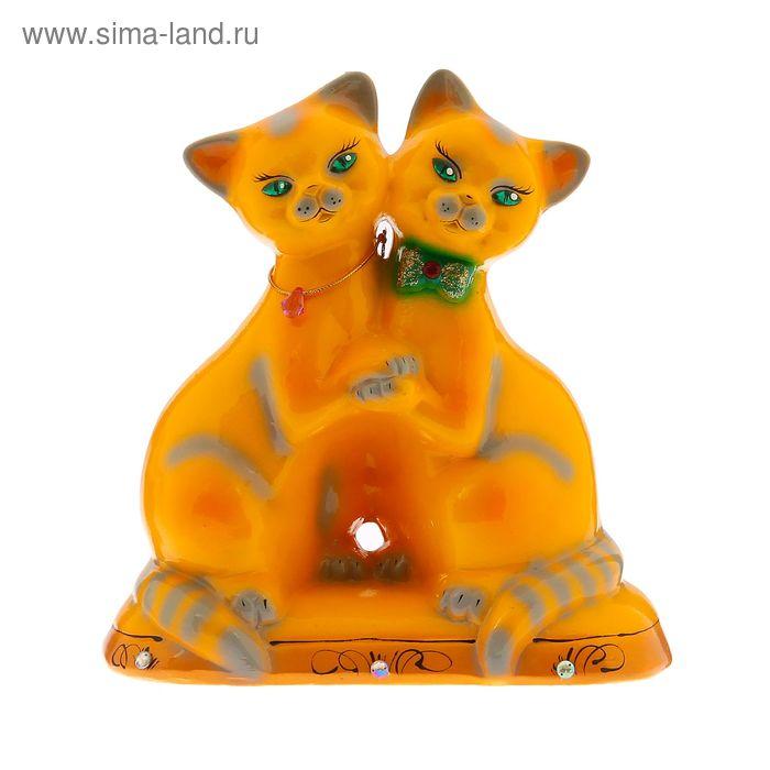 """Копилка """"Влюбленные кошечки"""" глянец, жёлтая"""