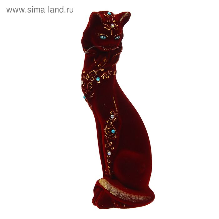 """Копилка """"Кошка в ожерелье"""" флок, бордовая"""