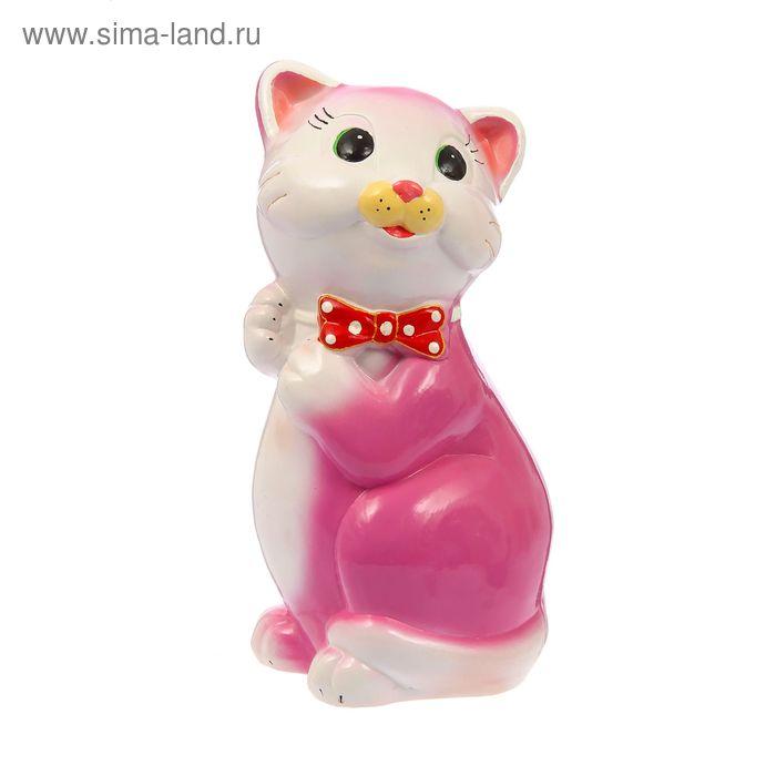 """Копилка """"Кот Пушистик"""" большая, глянец, розовая"""