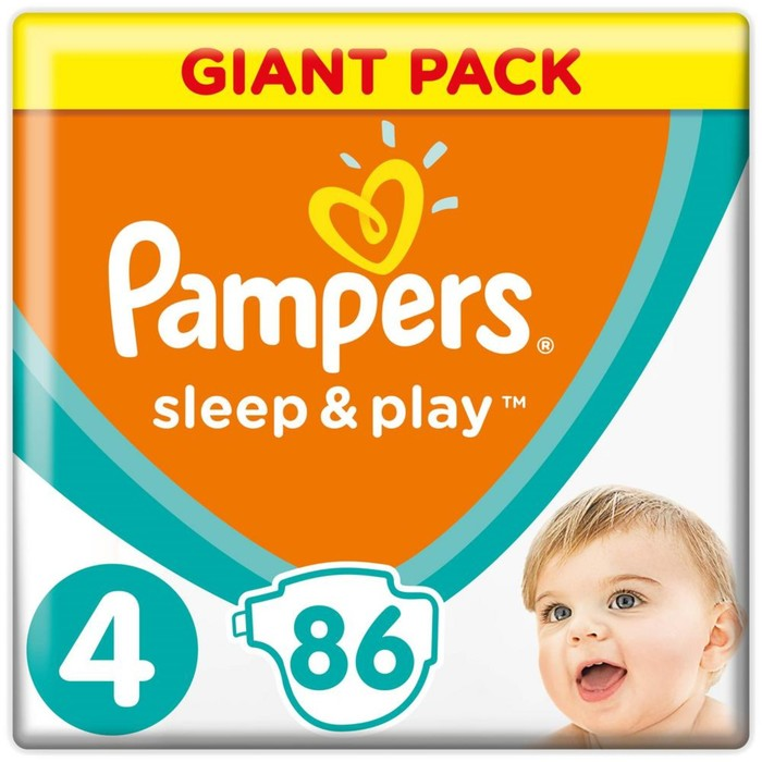 Подгузники «Pampers» Sleep&Play, Maxi, 9-14 кг, 86 шт/уп