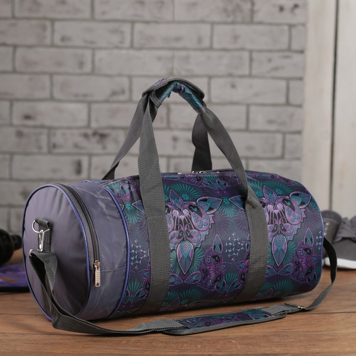 Сумка спортивная на молнии «Сиреневые цветы», 1 отдел, 1 наружный карман, длинный ремень, цвет серый