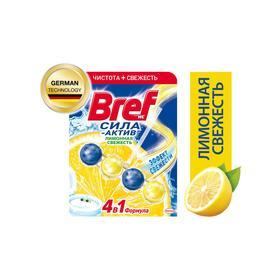 Блок для чистки и свежести унитаза 4 в 1 Bref Сила актив «Лимонная свежесть», 50 г