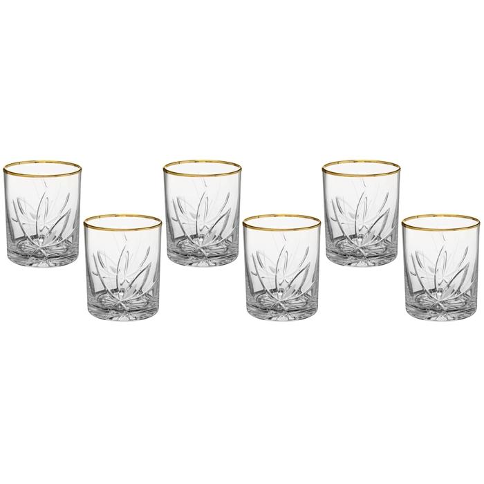"Набор стаканов для виски 330 мл ""Цветок"", 6 шт, отводка золотом"
