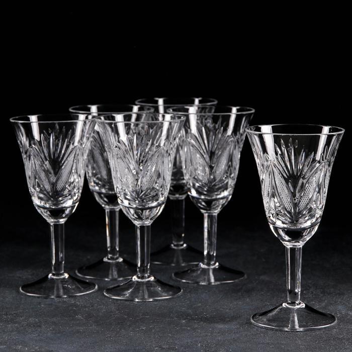 Набор фужеров для вина «Мельница и листья», 200 мл, 6 шт, хрусталь - фото 1618908