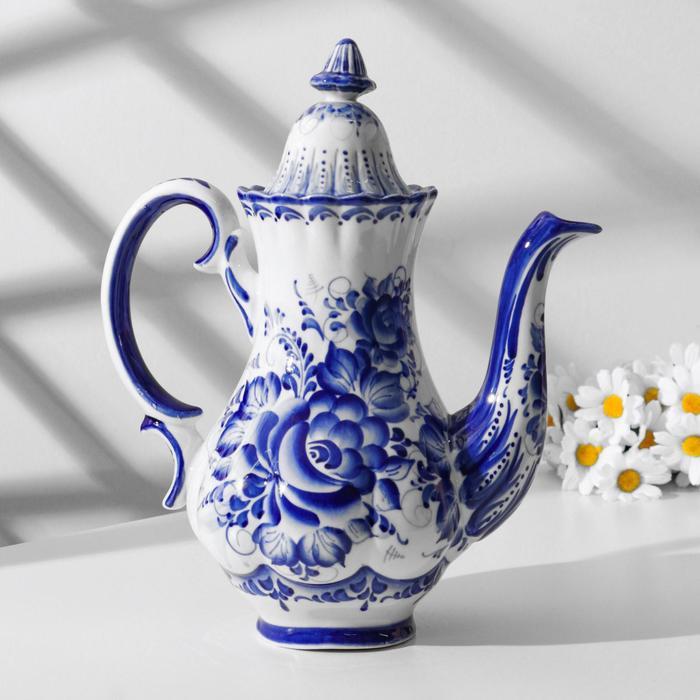 Чайник «Пион», гжель, кобальт - фото 1618932