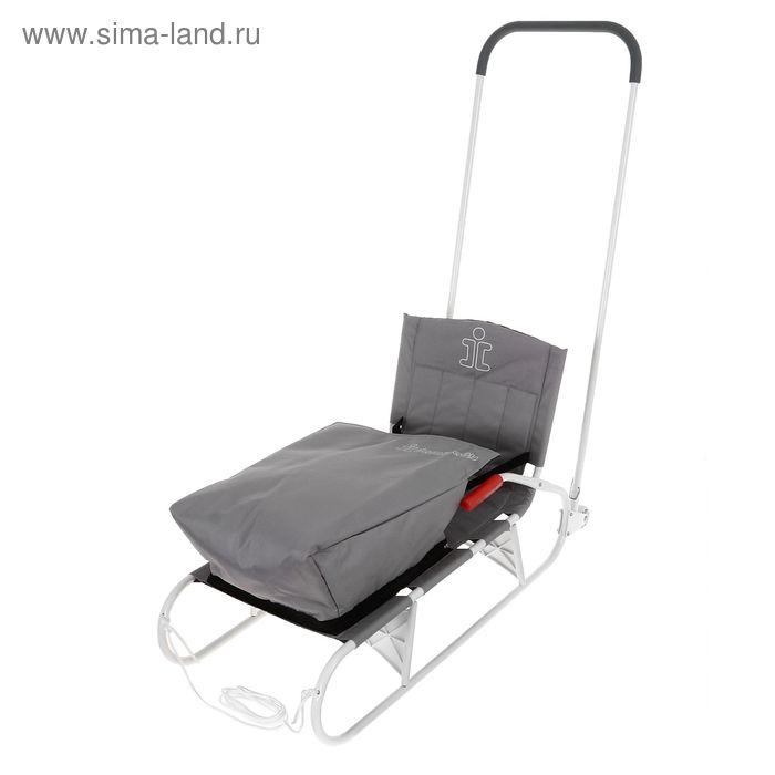 Санки складные с толкателем, колёсиками и съёмным чехлом для ног, цвет серый