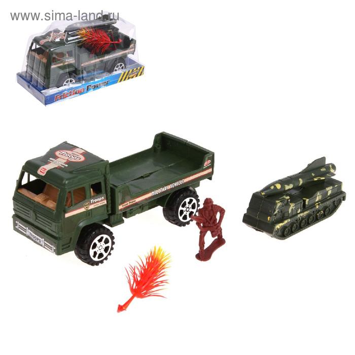 """Грузовик инерционный """"Военный"""", с машиной и солдатом"""