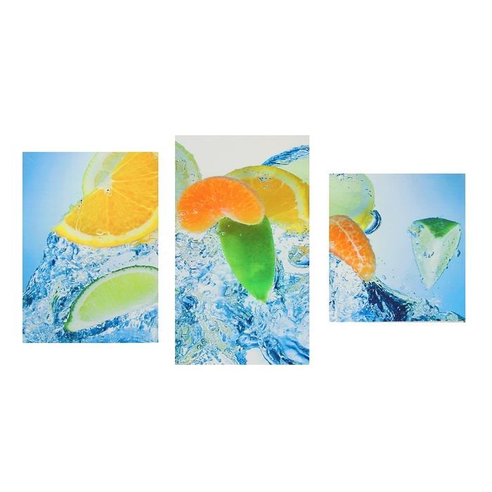 """Модульная картина на подрамнике """"Цитрусовый взрыв"""", 30×44 см, 30×53 см, 30×34 см, 60×100 см"""