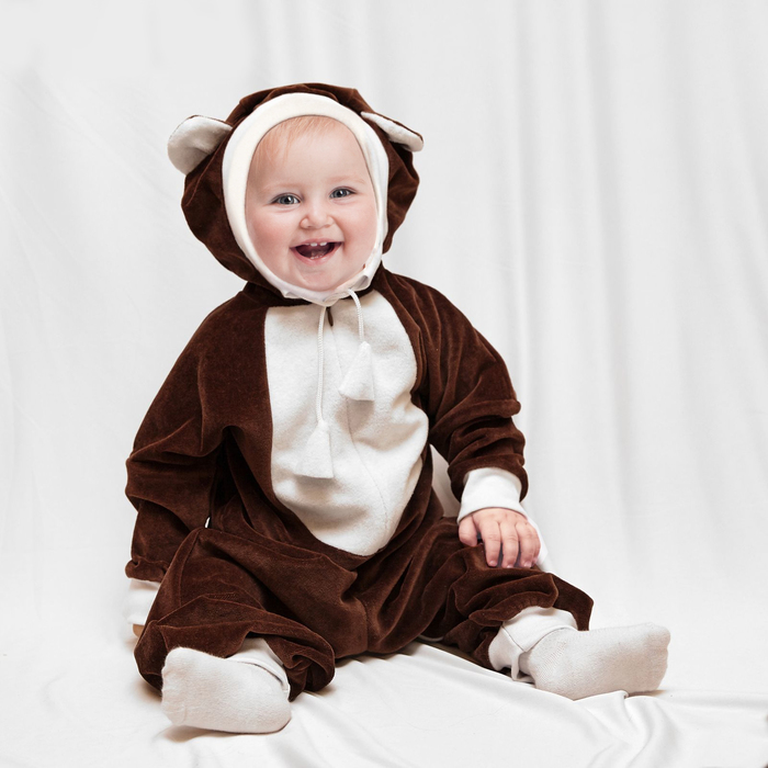 "Carnival jumpsuit for kids ""Bear"" with a toy, velour, height 68-92 cm, 1-2 years"