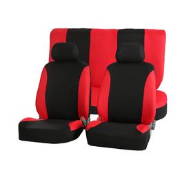 Авточехлы, универcальные, 6 предметов, 2 подголовника, чёрно-красные