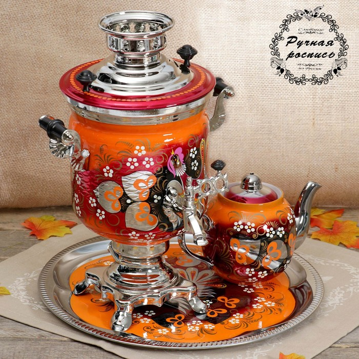 """The set of """"Coach"""" of the Bank, 3 items, samovar 3 l teapot 0.7 l, tray"""