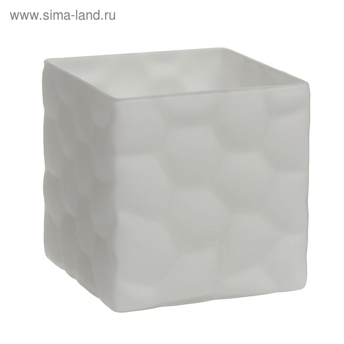 """Ваза """"Куб"""" средняя, белая, матовая"""