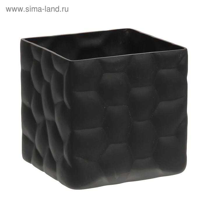 """Ваза """"Куб"""" средняя, чёрная, матовая"""