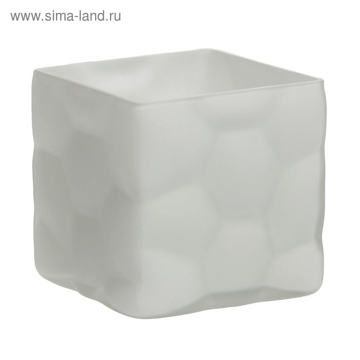 """Ваза """"Куб"""" малая, белая, матовая"""