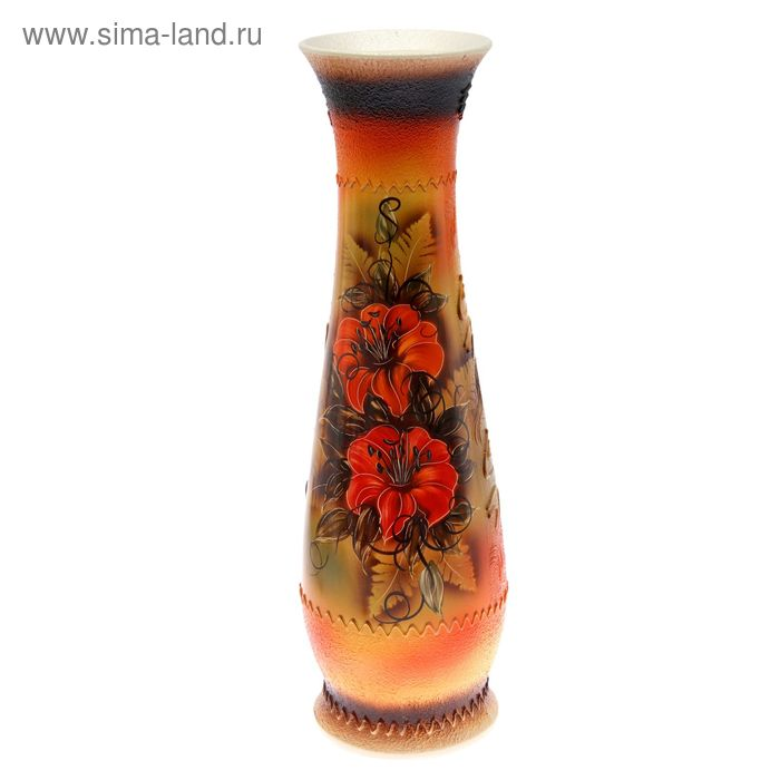 """Ваза напольная """"Глория"""" цветы, чёрно-красная"""