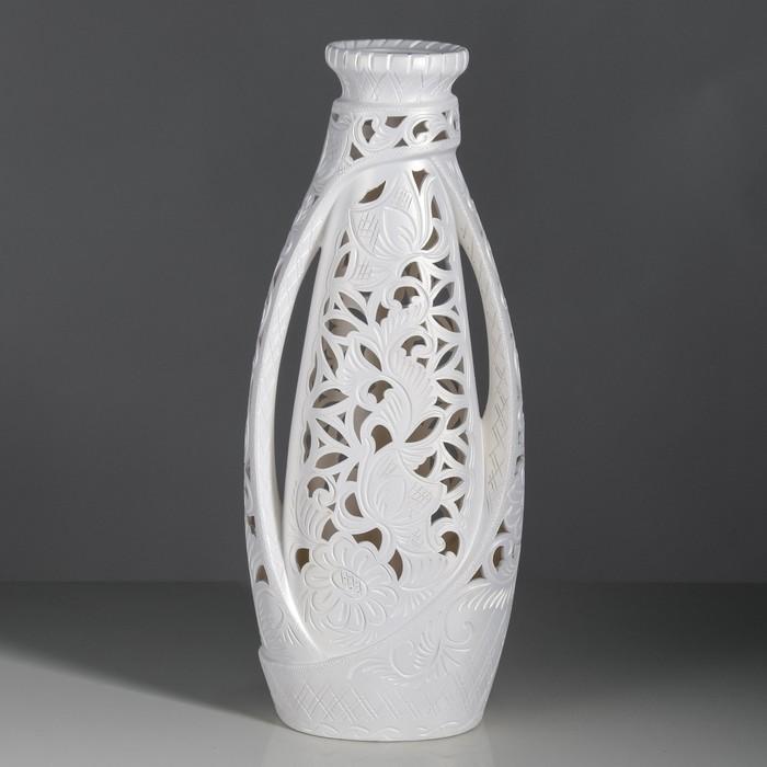 """Ваза напольная """"Венеция"""" резка, белая, 65 см, микс, керамика - фото 1546439"""