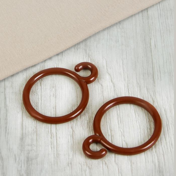 Кольцо для карниза, с крючком, d = 26/35 мм, цвет коричневый